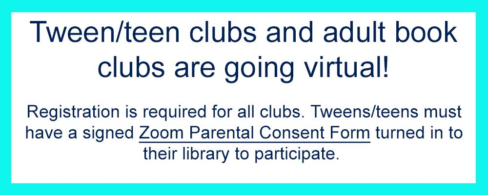 Clubs are going virtual! Registration is required. Parental consent required if under 18.