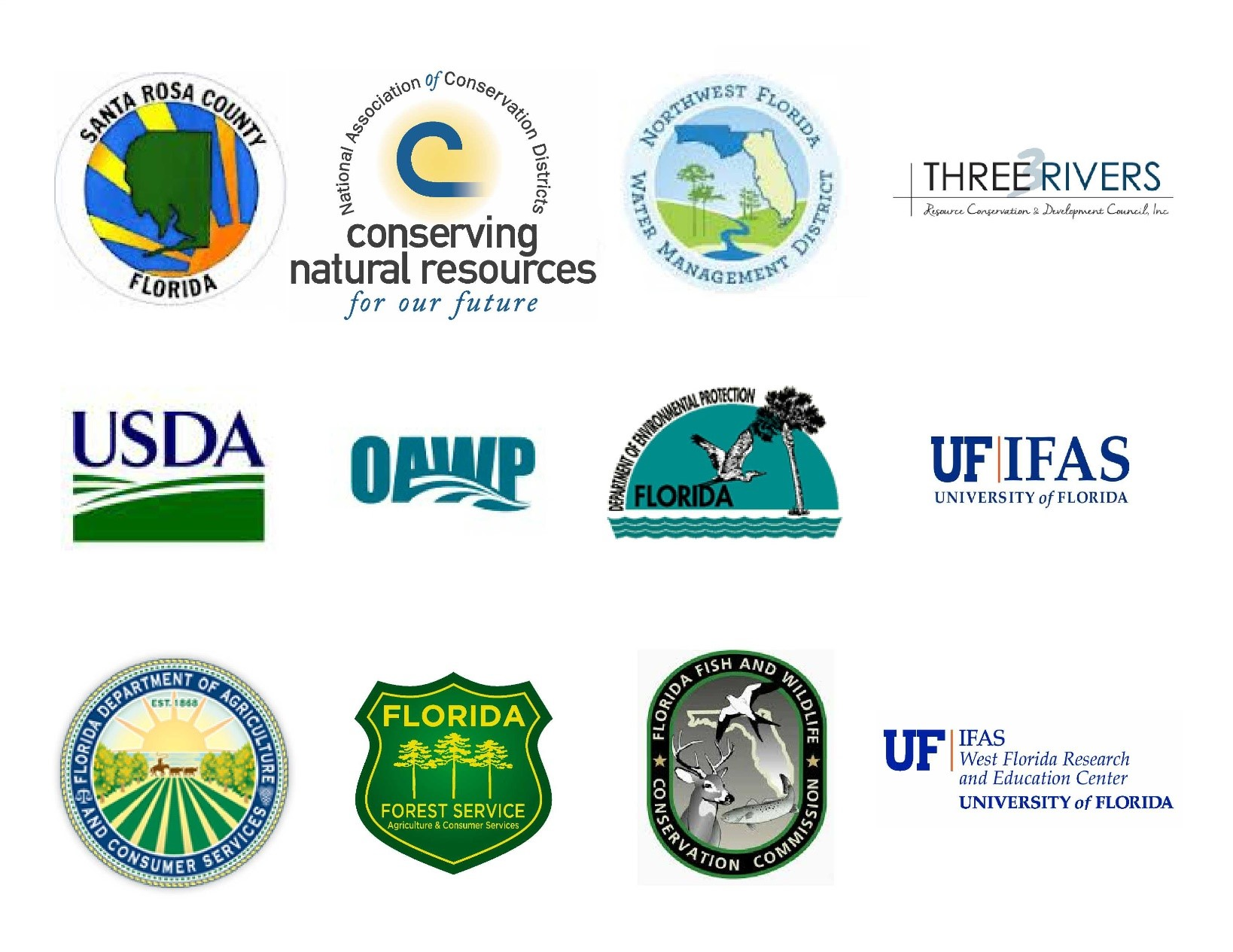Image of Partner logos Left to Right, Santa Rosa County, National Association of Conservation Districts, Northwest Florida Water Management District, Three Rivers Resource Conservation and Development Council Inc., United States Department of Agriculture, Office of Accountability and Whistleblower Protection, Florida Department of Environmental Protection, University of Florida Institute of Food and Agricultural Sciences, Florida Department of Agriculture and Consumer Services, Florida Forest Service, Florida Fish and Wildlife Conservation Commission, University of Florida Institute of Food and Agricultural Sciences West Florida Research and Education Center.